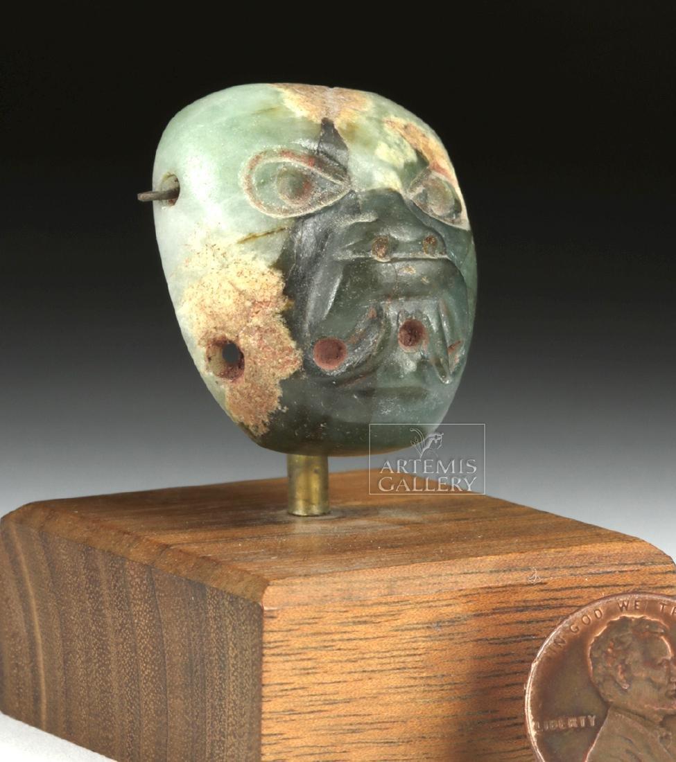 Stunning Miniature Olmec Jade Maskette - 3