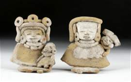 Lot of 2 Teotihuacan Terracotta Mother  Child Figures