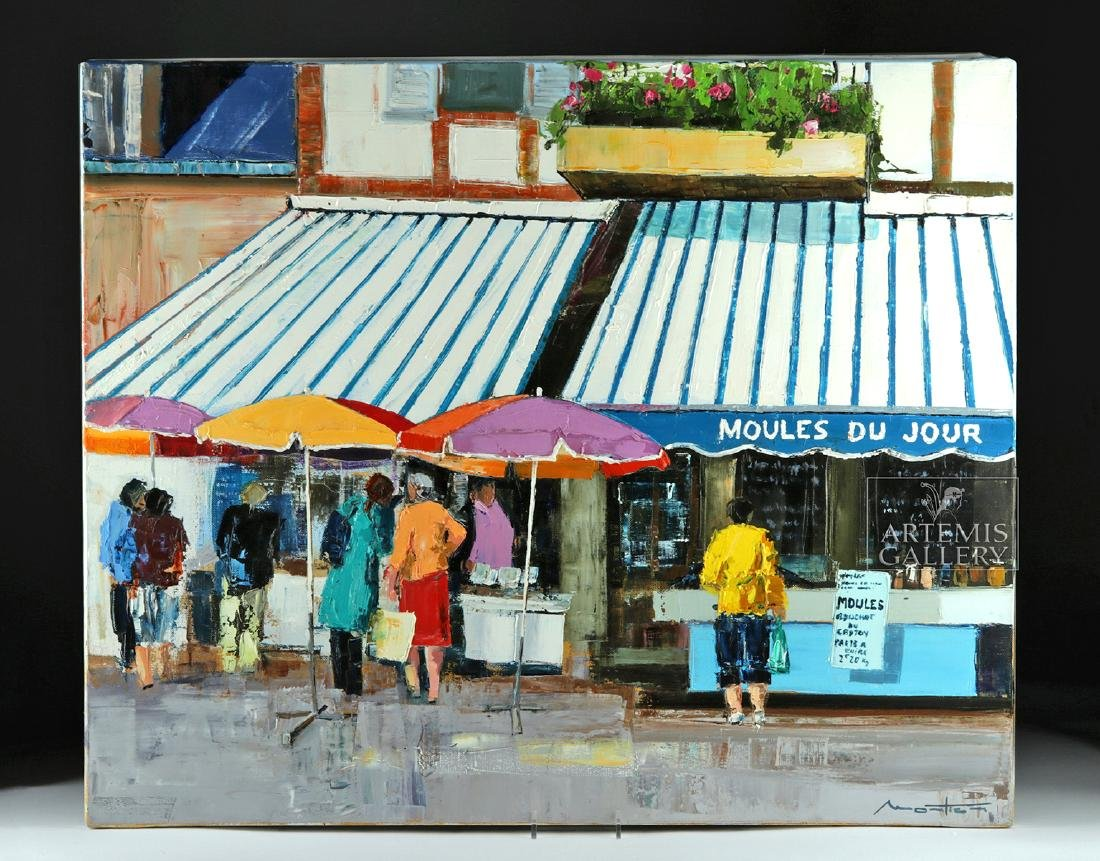 Signed Mortier Painting - La Vente Des Moules, 2010