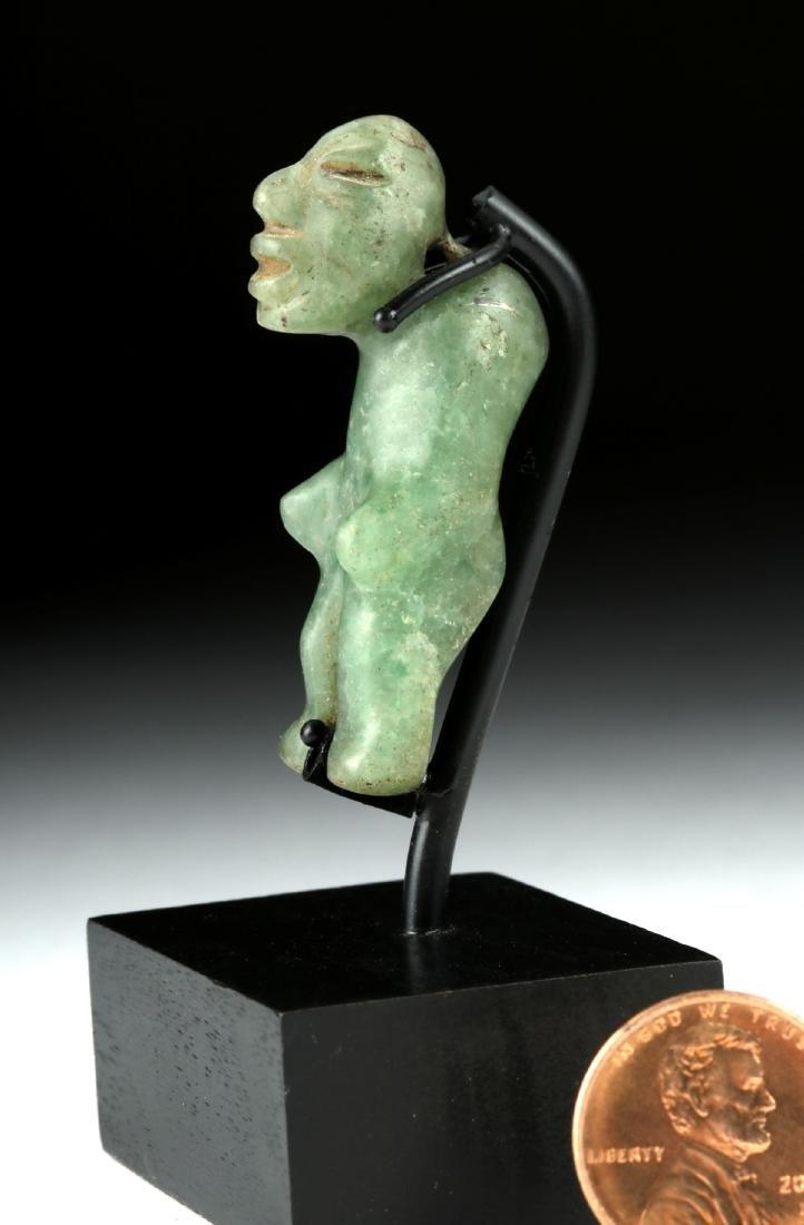 Miniature Olmec Greenstone Hunchback Amulet - 2