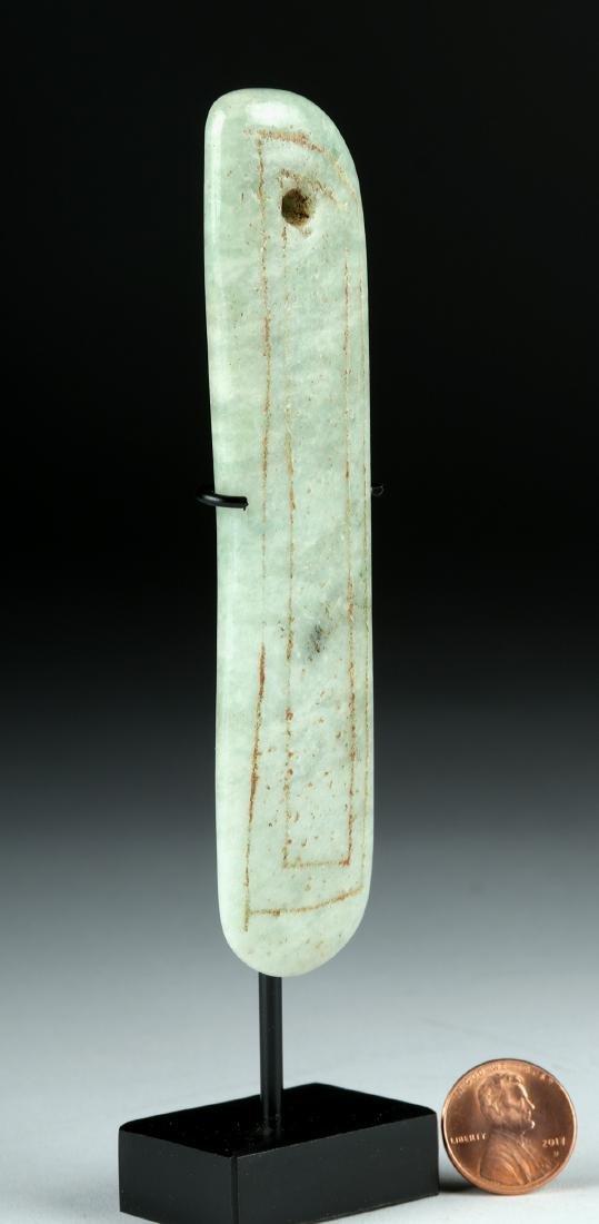 Olmec Jade Blade Pendant w/ Incised Design - 2