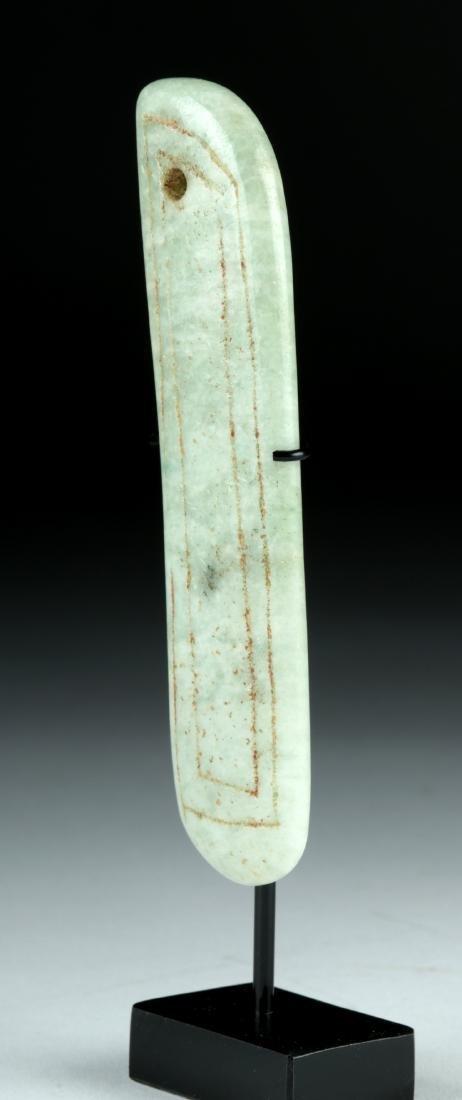 Olmec Jade Blade Pendant w/ Incised Design - 3