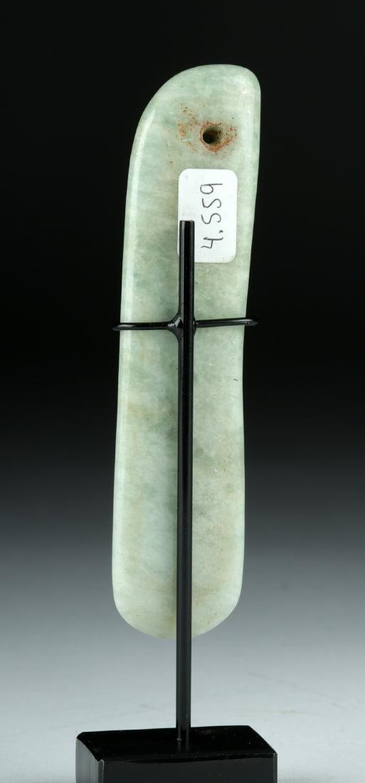 Olmec Jade Blade Pendant w/ Incised Design - 4