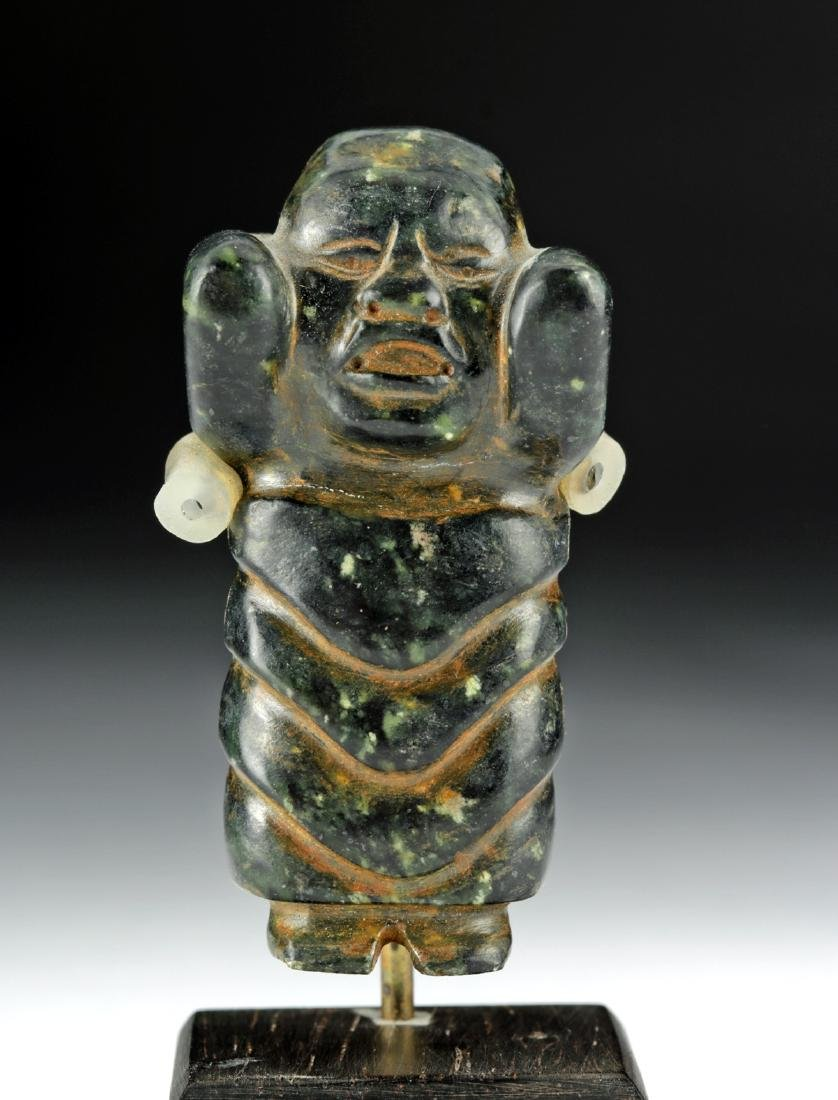 Olmec Green Stone Standing Baby Figure - 2