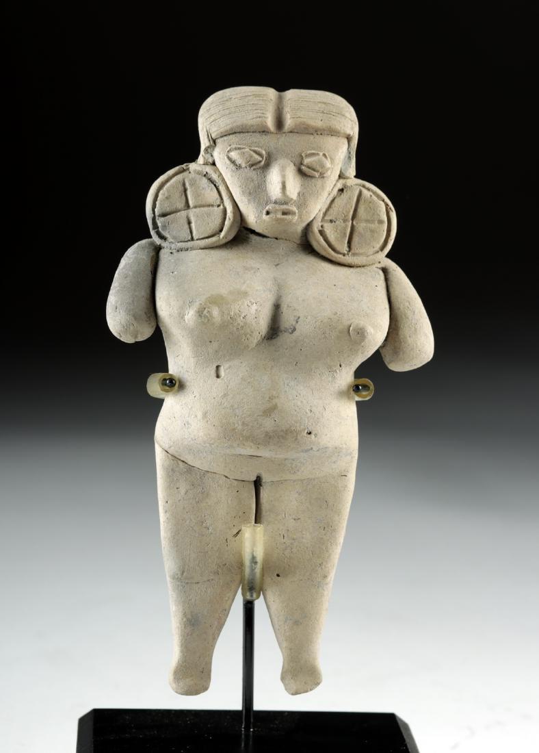 Michoacan Pottery Pregnant Pretty Lady Figure - 2