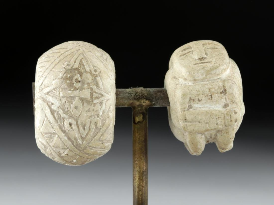 Two Colima Carved Stone Beads