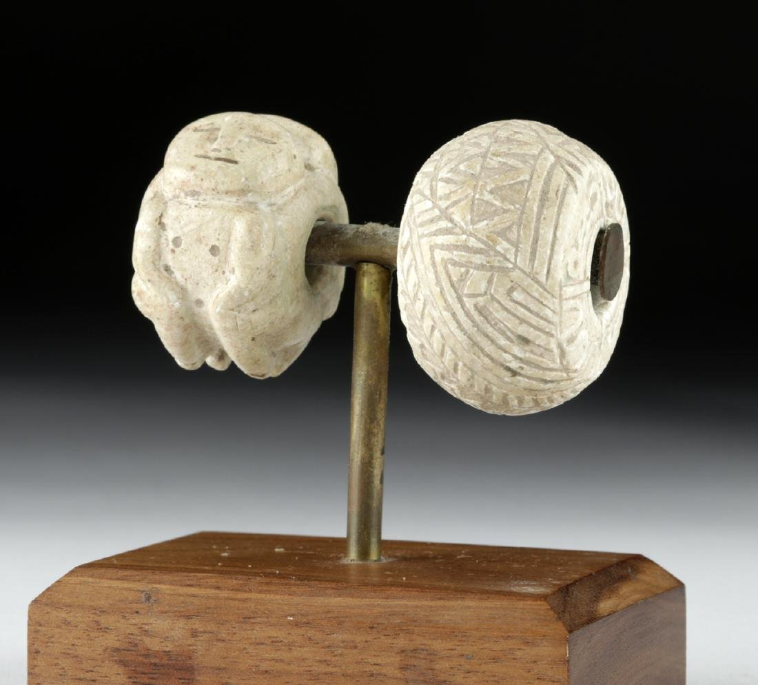 Two Colima Carved Stone Beads - 3