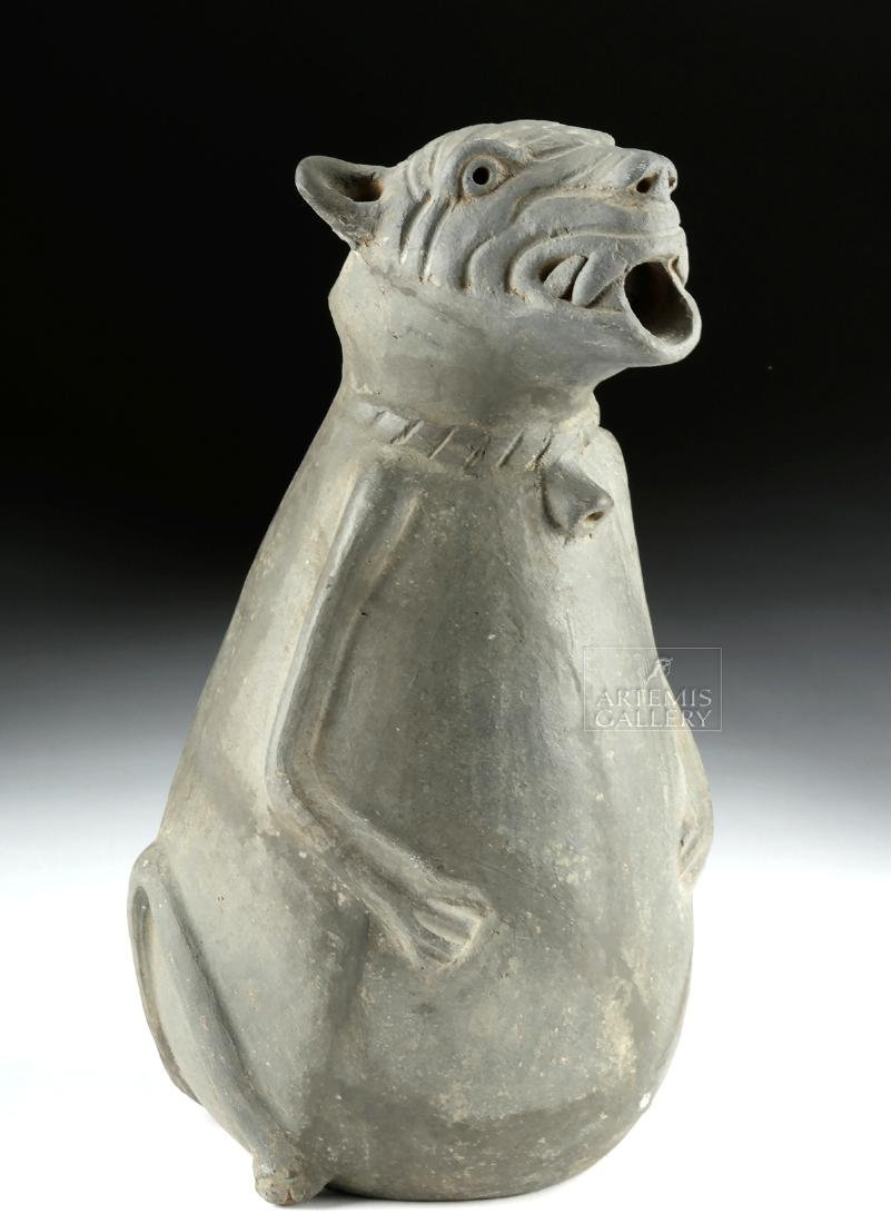 Rare Zapotec Pottery Dog Effigy Grayware Jar