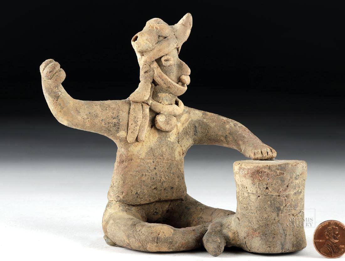 Colima Pottery Whistling Figure - Seated Shaman Drummer