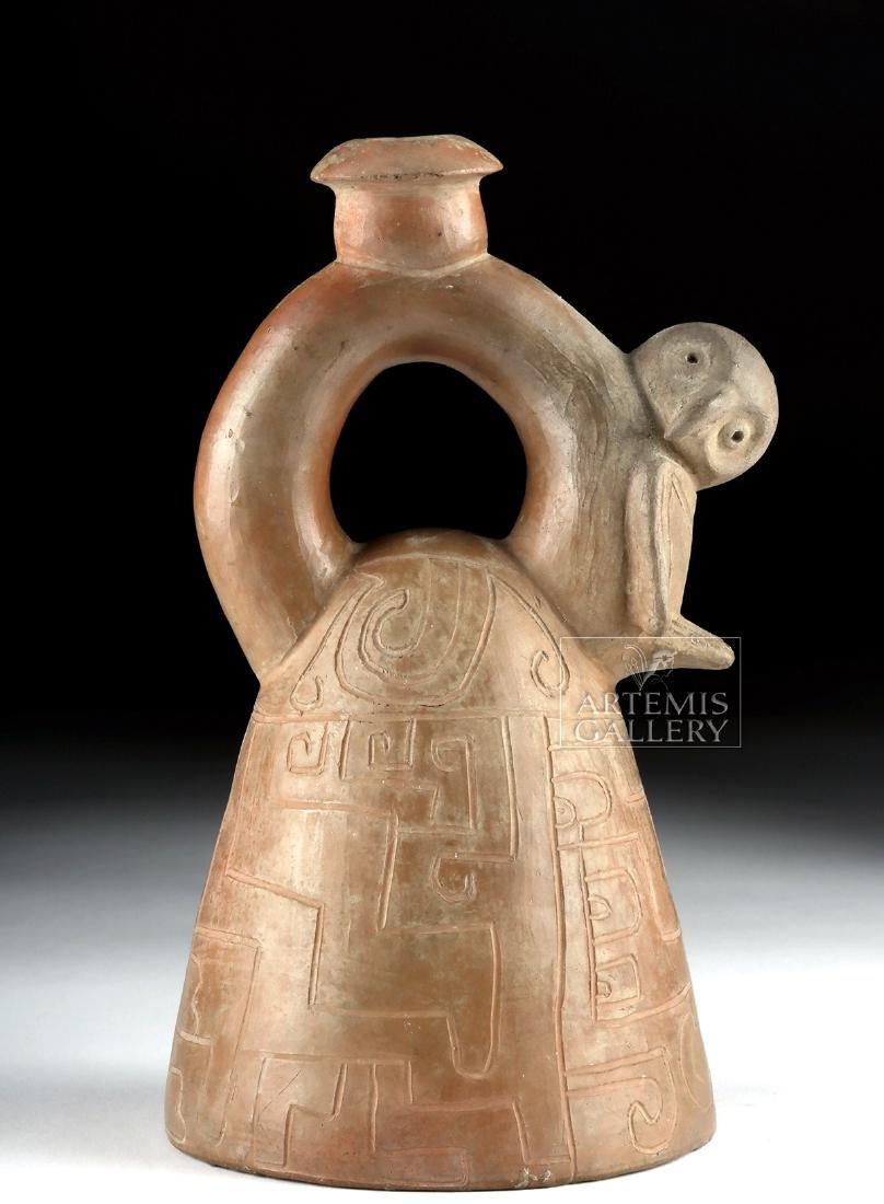 Chorrera Pottery Stirrup Vessel w/ Owl & Incised Motifs