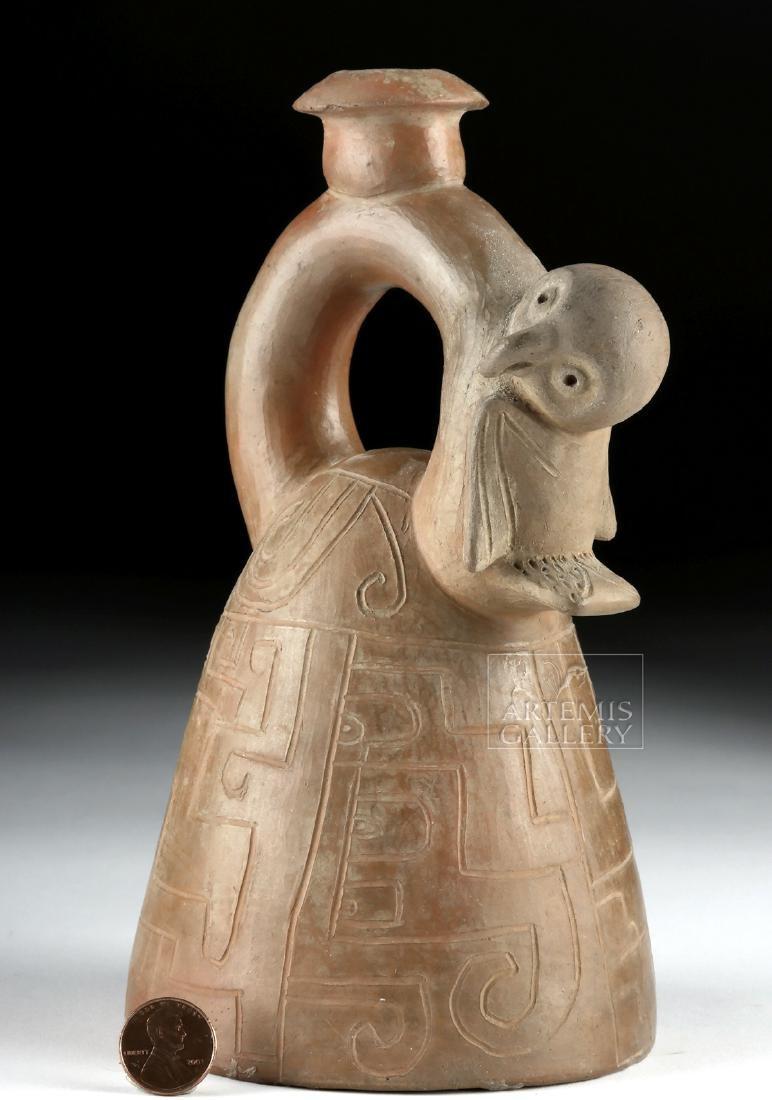 Chorrera Pottery Stirrup Vessel w/ Owl & Incised Motifs - 2