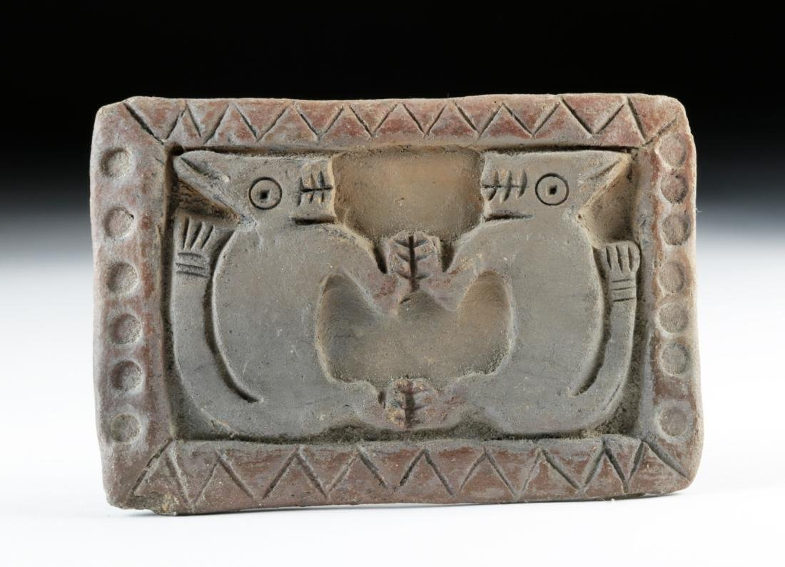 Large Guangala Pottery Stamp w/ Twin Felines