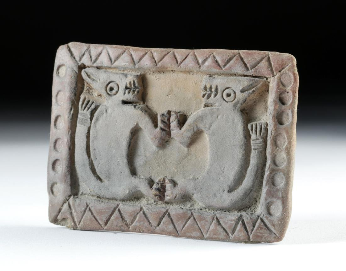Large Guangala Pottery Stamp w/ Twin Felines - 3