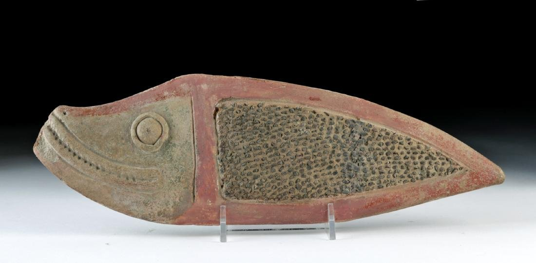Attractive La Tolita Pottery & Stone Fish Grater - 2