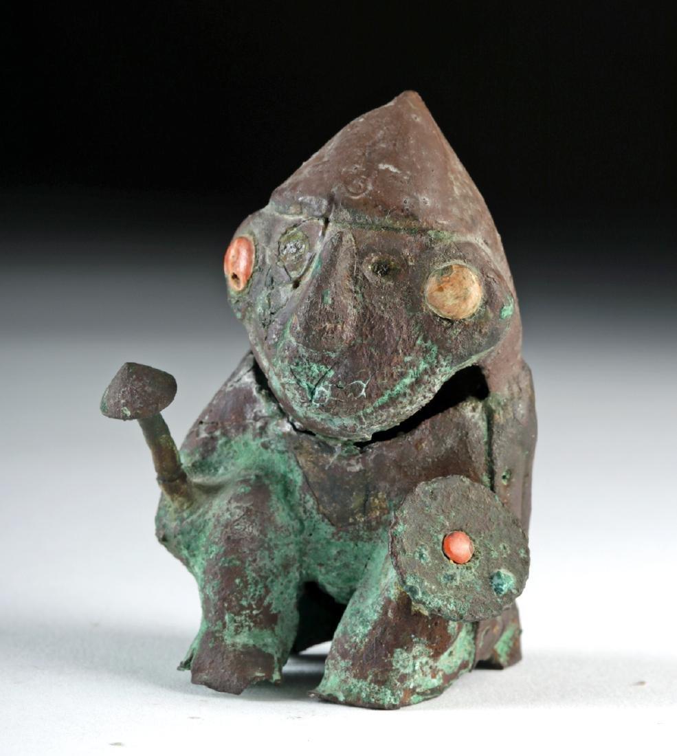 Rare Moche Copper Seated Warrior w/ Shield and Club
