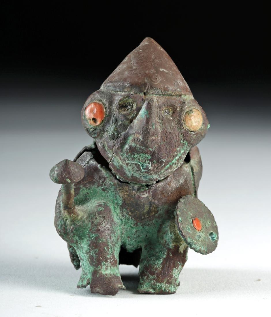 Rare Moche Copper Seated Warrior w/ Shield and Club - 2