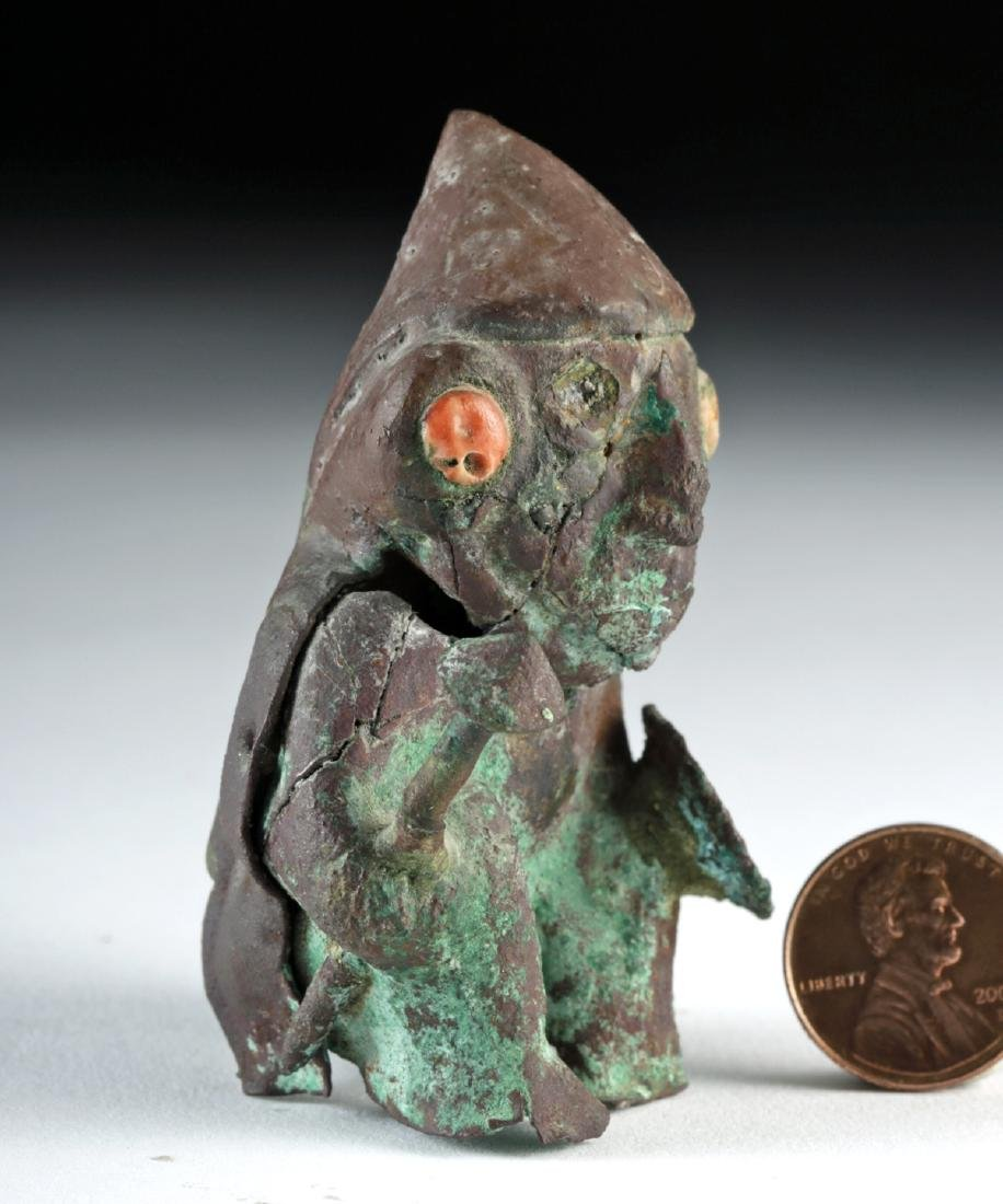 Rare Moche Copper Seated Warrior w/ Shield and Club - 3