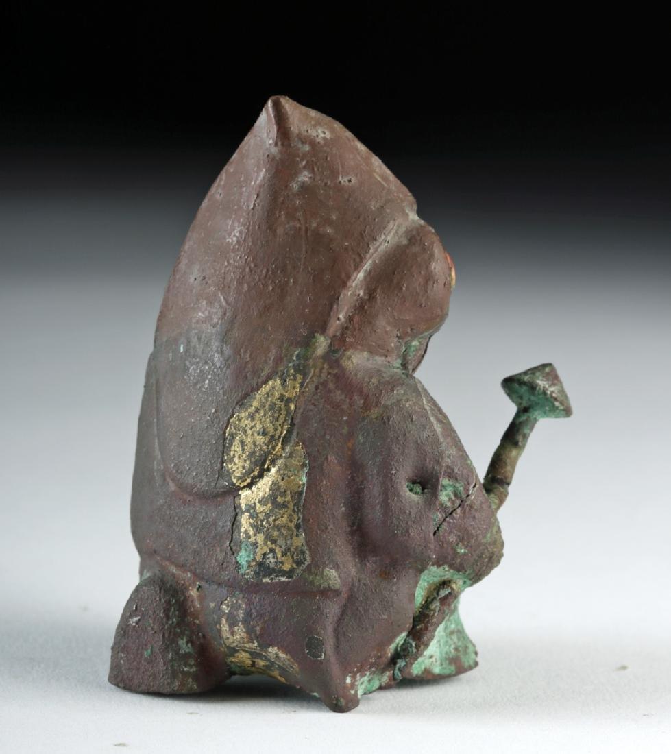 Rare Moche Copper Seated Warrior w/ Shield and Club - 4