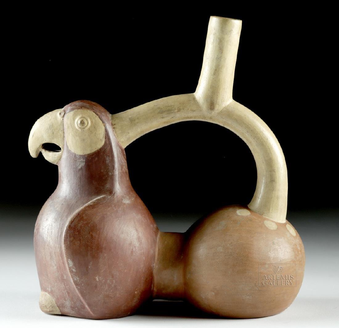 Moche Pottery Whistling Stirrup Vessel - Parrot - 3