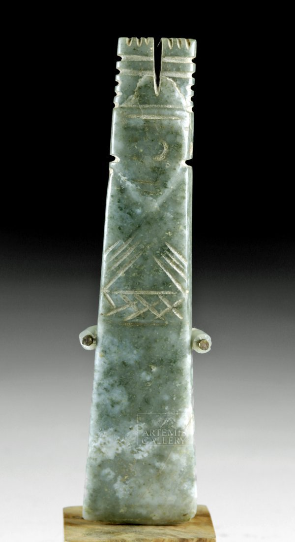 Large Costa Rican Jade Axe God Pendant