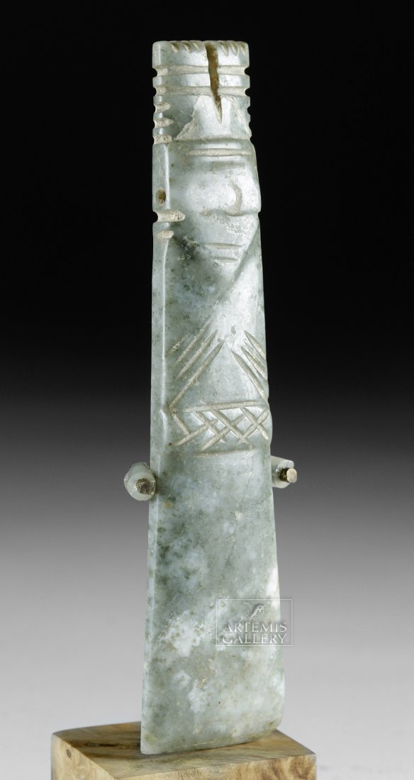 Large Costa Rican Jade Axe God Pendant - 2