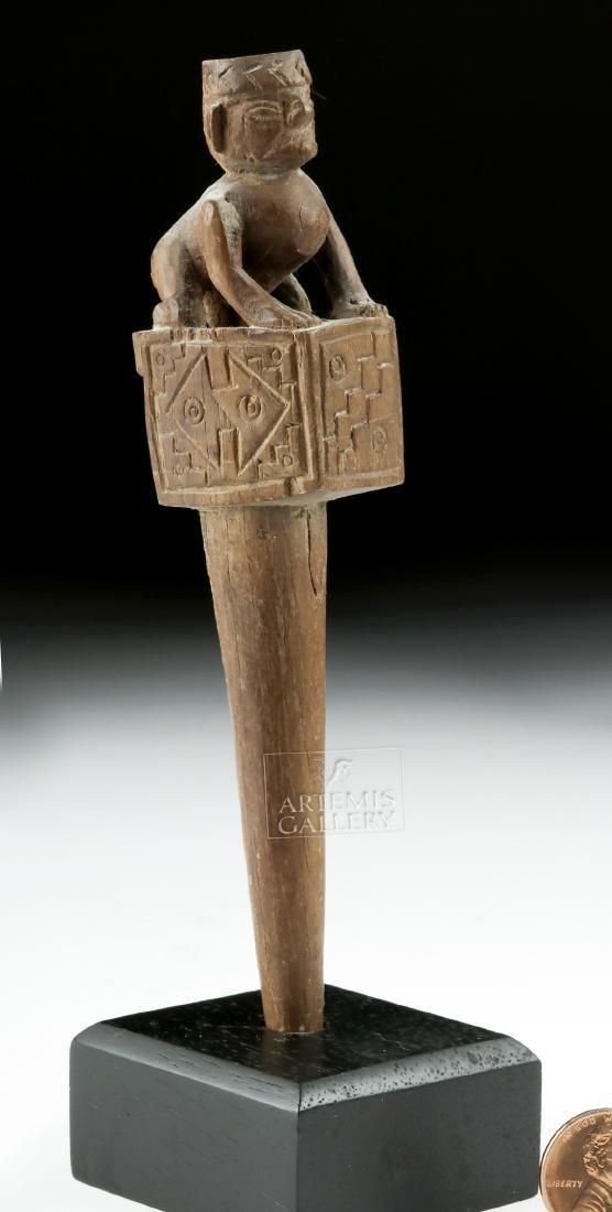 Moche Wooden Weaver's Peg w/ Crawling Human Figure