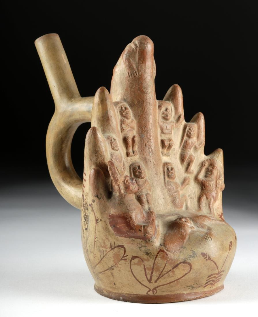 Moche Fineline Pottery Vessel with Cliff Sacrifice