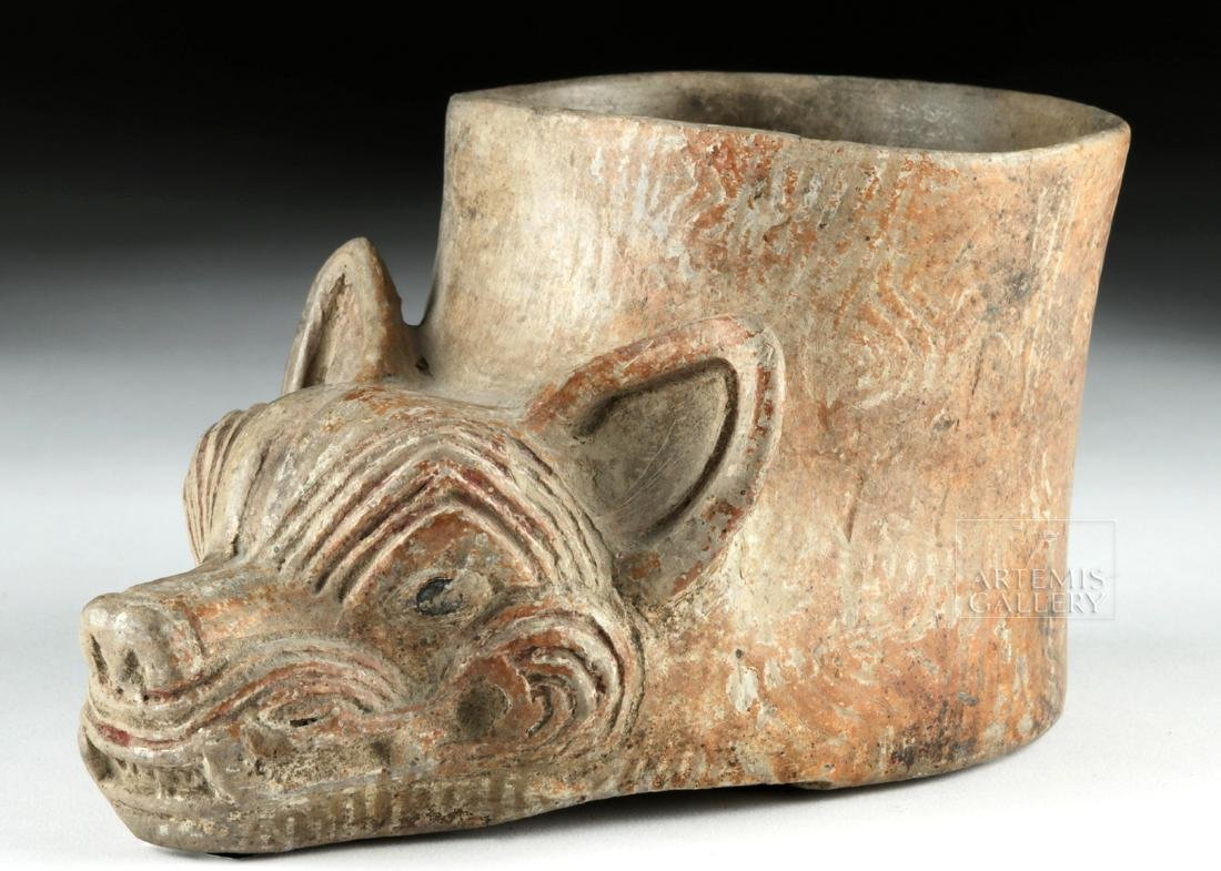 Mayan Pottery Coyote Face Vessel - 3
