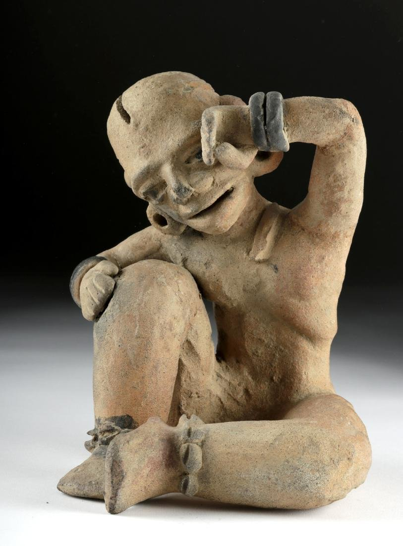 Rare Veracruz Pottery Seated Crying Figure w/TL