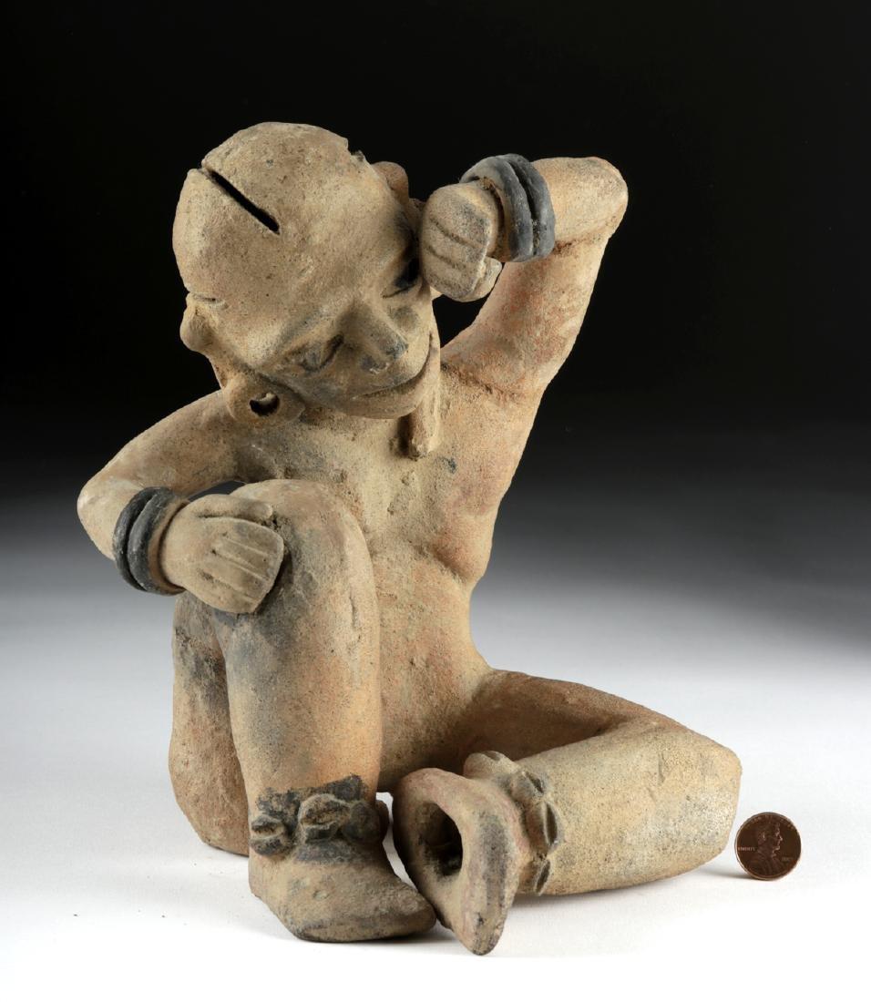 Rare Veracruz Pottery Seated Crying Figure w/TL - 2