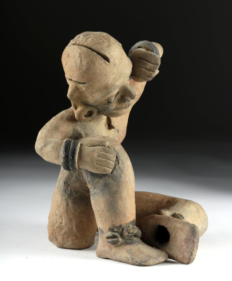 Rare Veracruz Pottery Seated Crying Figure w/TL - 3