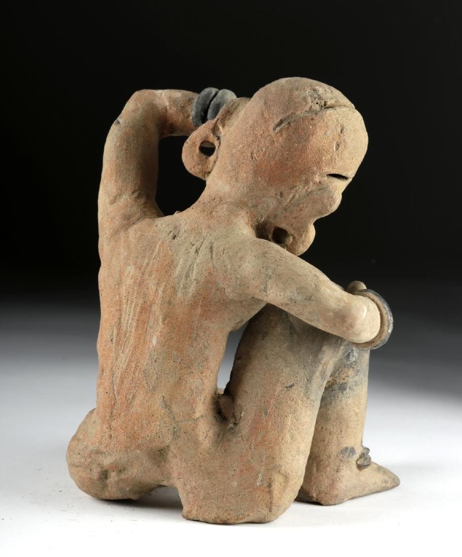 Rare Veracruz Pottery Seated Crying Figure w/TL - 4