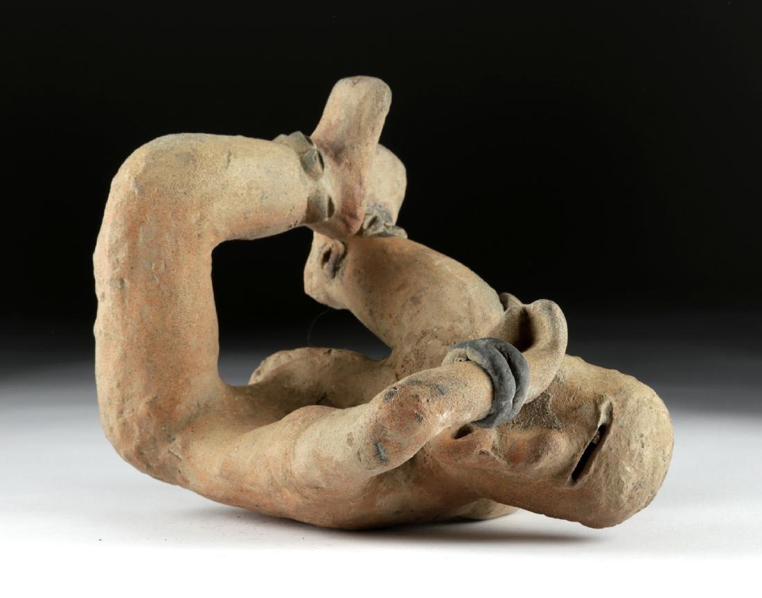 Rare Veracruz Pottery Seated Crying Figure w/TL - 5