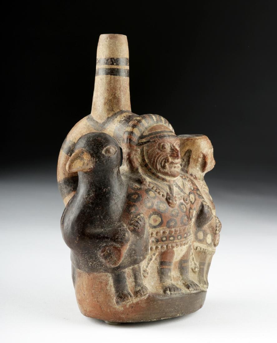 Moche Pottery Stirrup Vessel - Ai Apec, Bird, & Monkey - 3