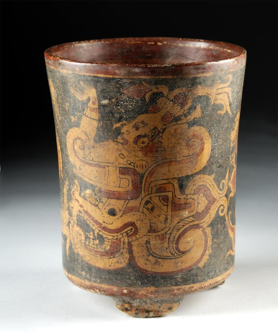 Mayan Polychrome Footed Cylinder Vessel