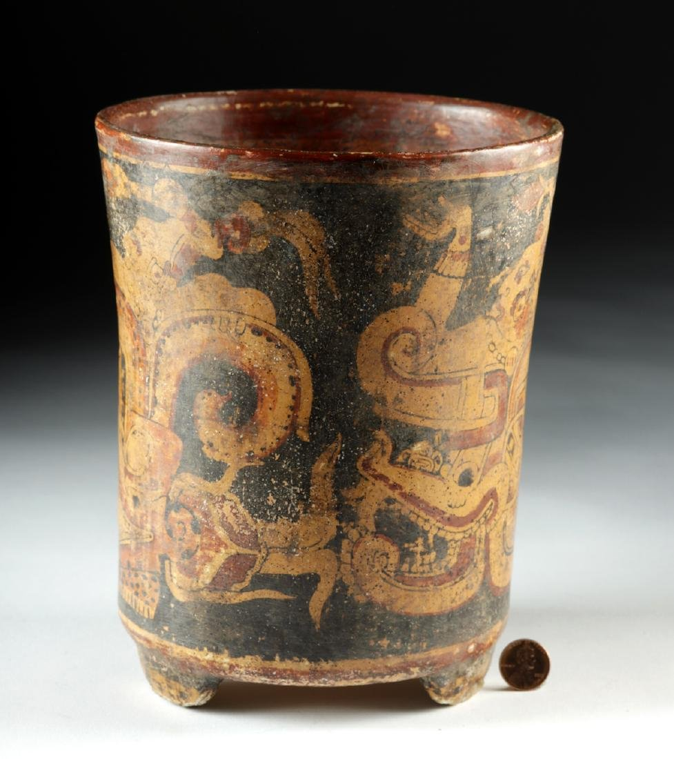 Mayan Polychrome Footed Cylinder Vessel - 2