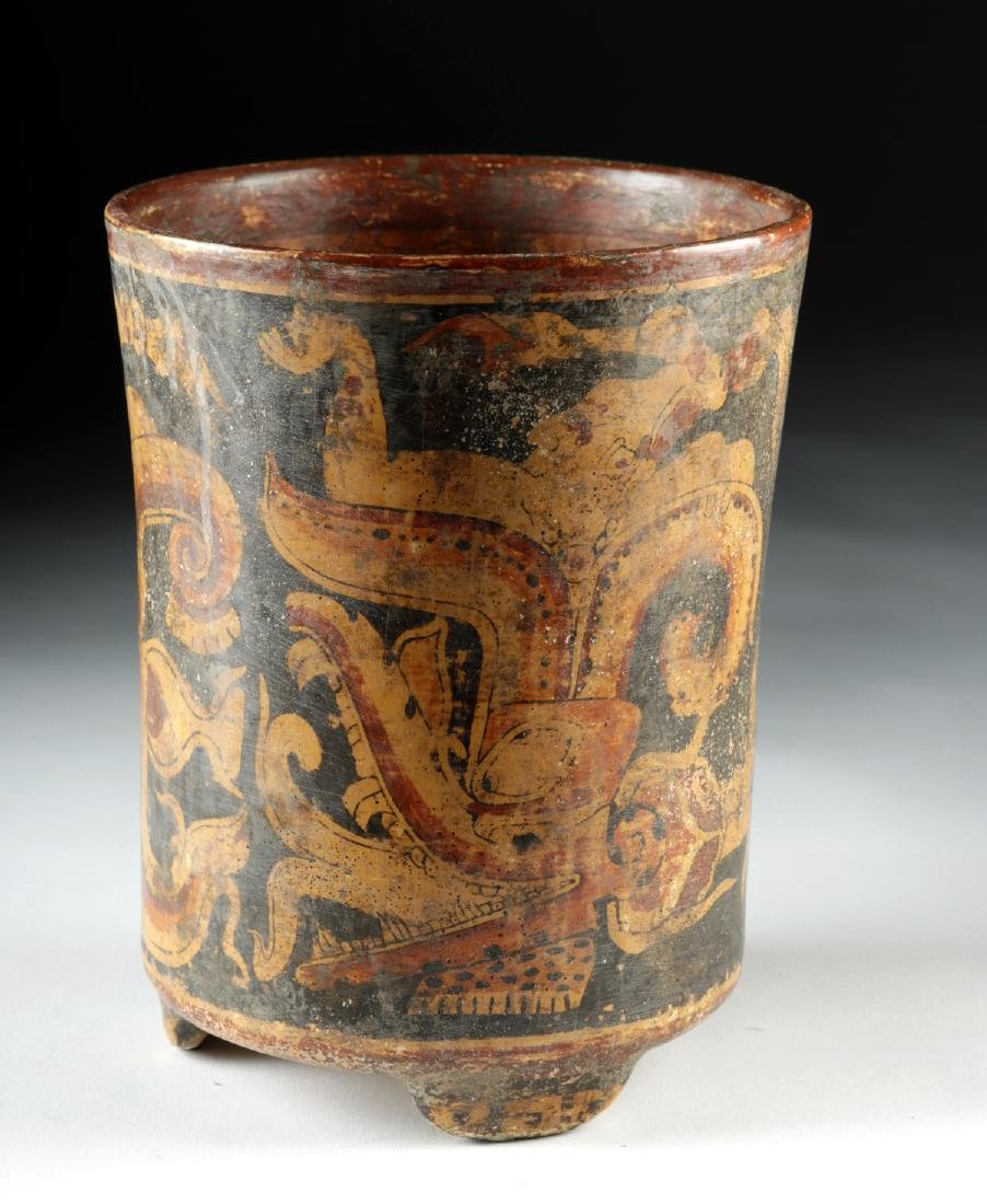 Mayan Polychrome Footed Cylinder Vessel - 3