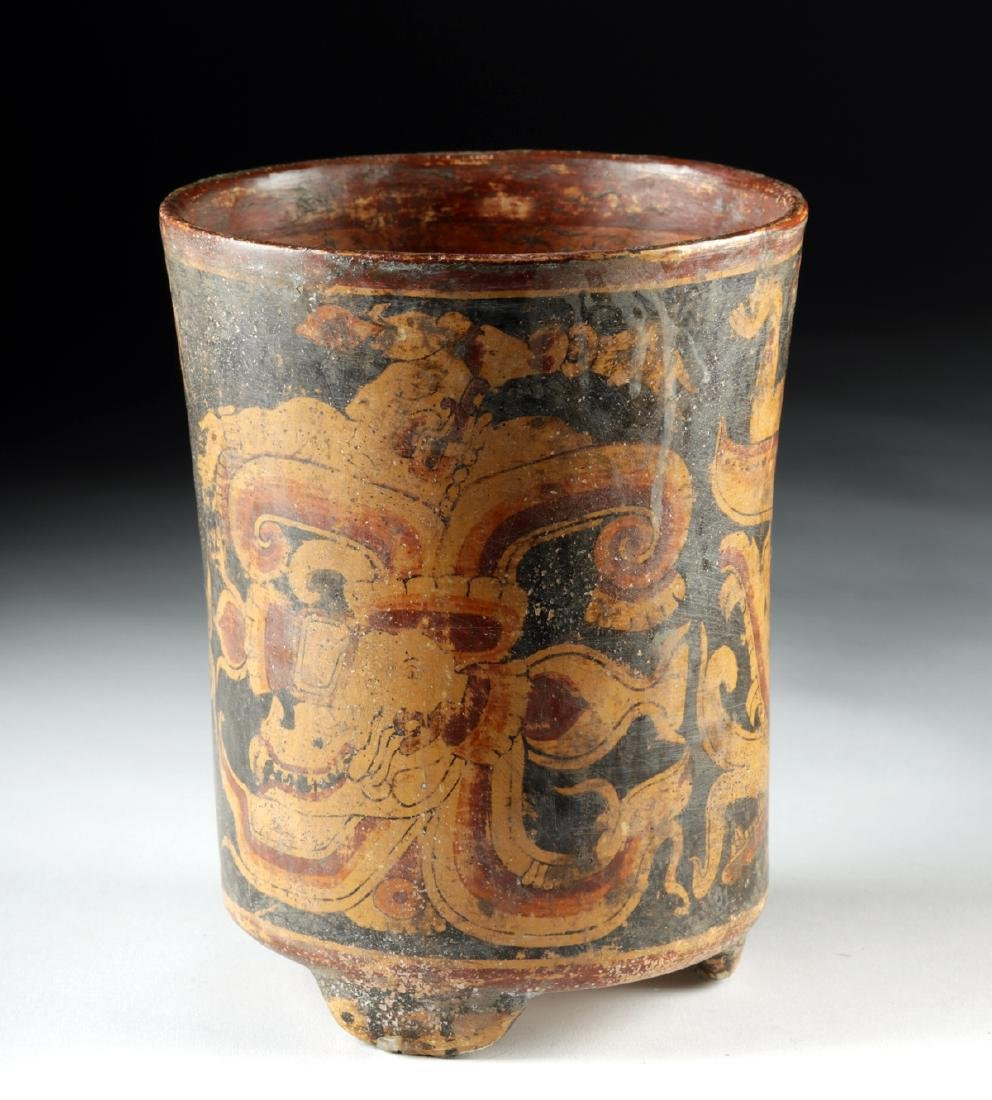 Mayan Polychrome Footed Cylinder Vessel - 4