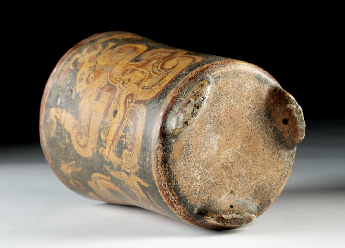 Mayan Polychrome Footed Cylinder Vessel - 6