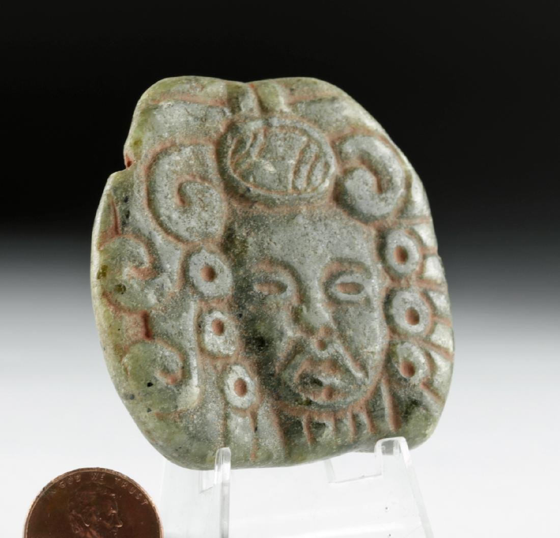 Mayan Carved Green Stone Pendant with Cinnabar