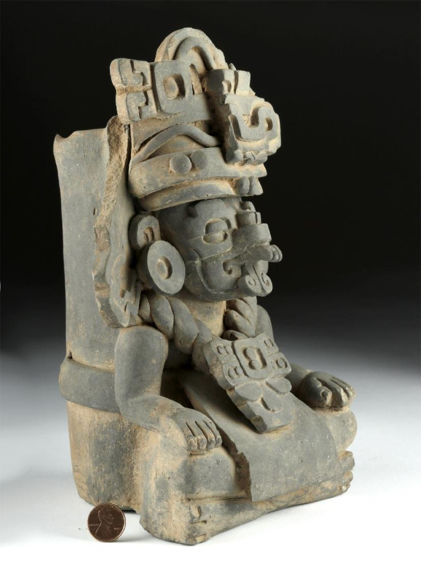 Monte Alban Grayware Effigy Urn - Rain God Cocijo - 2
