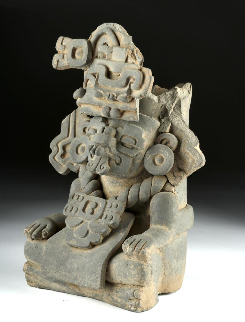 Monte Alban Grayware Effigy Urn - Rain God Cocijo - 3