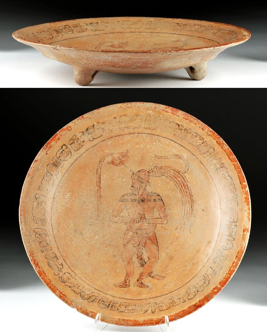 Mayan Polychrome Tripod Dish - Water Lily Jaguar