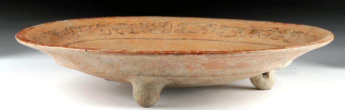 Mayan Polychrome Tripod Dish - Water Lily Jaguar - 2