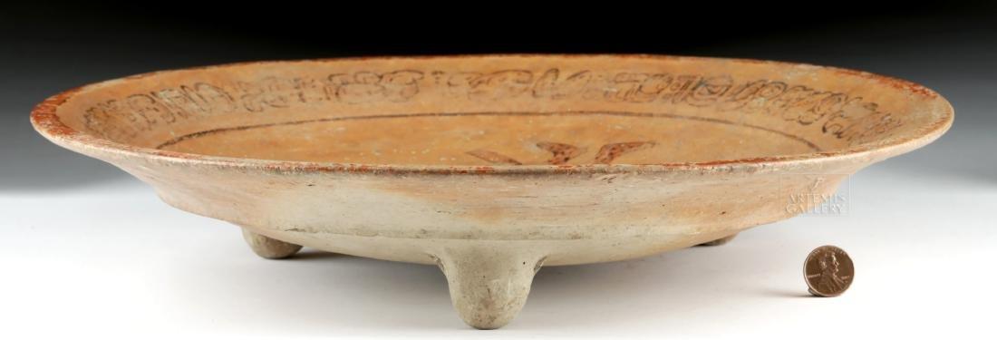 Mayan Polychrome Tripod Dish - Water Lily Jaguar - 3