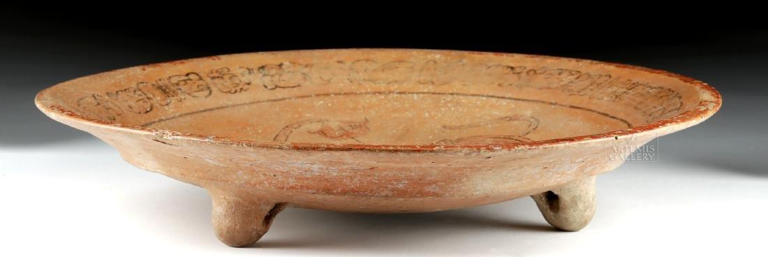 Mayan Polychrome Tripod Dish - Water Lily Jaguar - 4