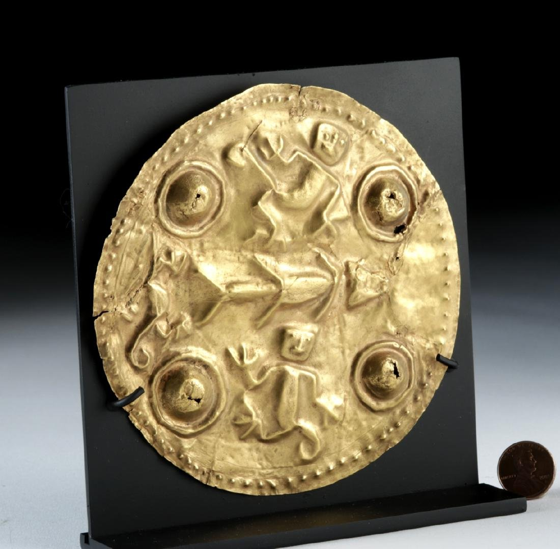 Large Quimbaya 22K+ Gold Repousse Disc - Monkeys & Fish