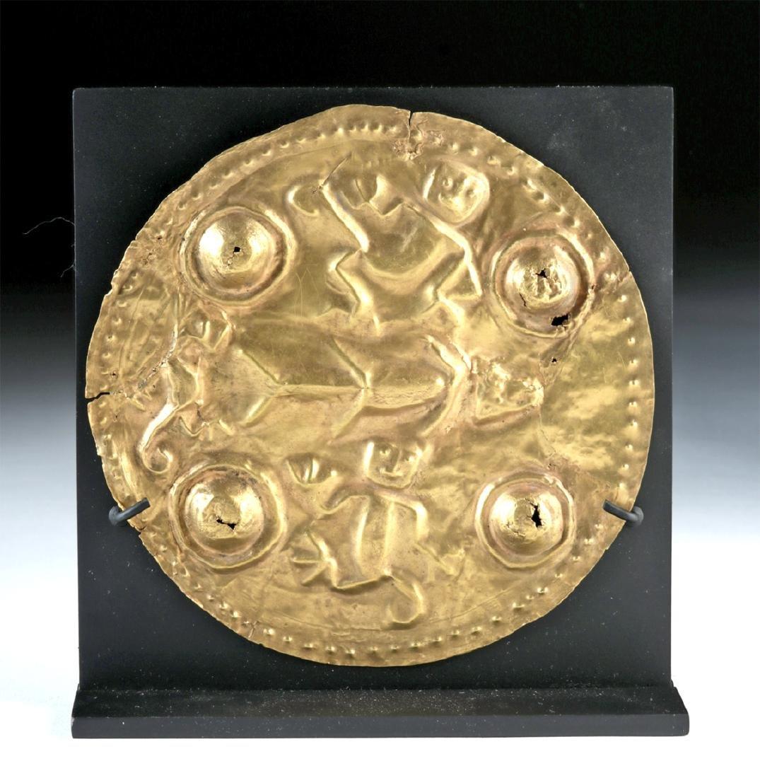 Large Quimbaya 22K+ Gold Repousse Disc - Monkeys & Fish - 2