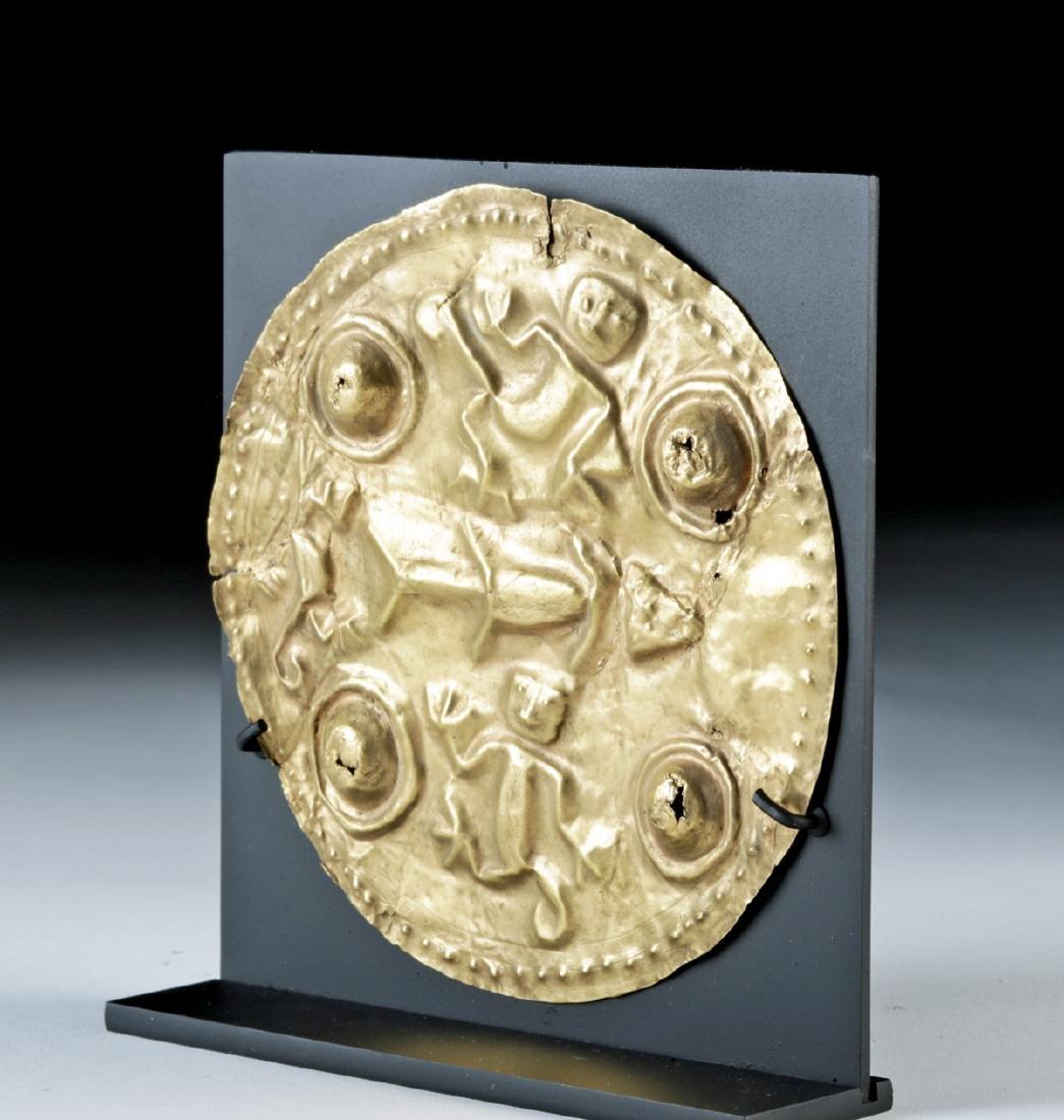 Large Quimbaya 22K+ Gold Repousse Disc - Monkeys & Fish - 3