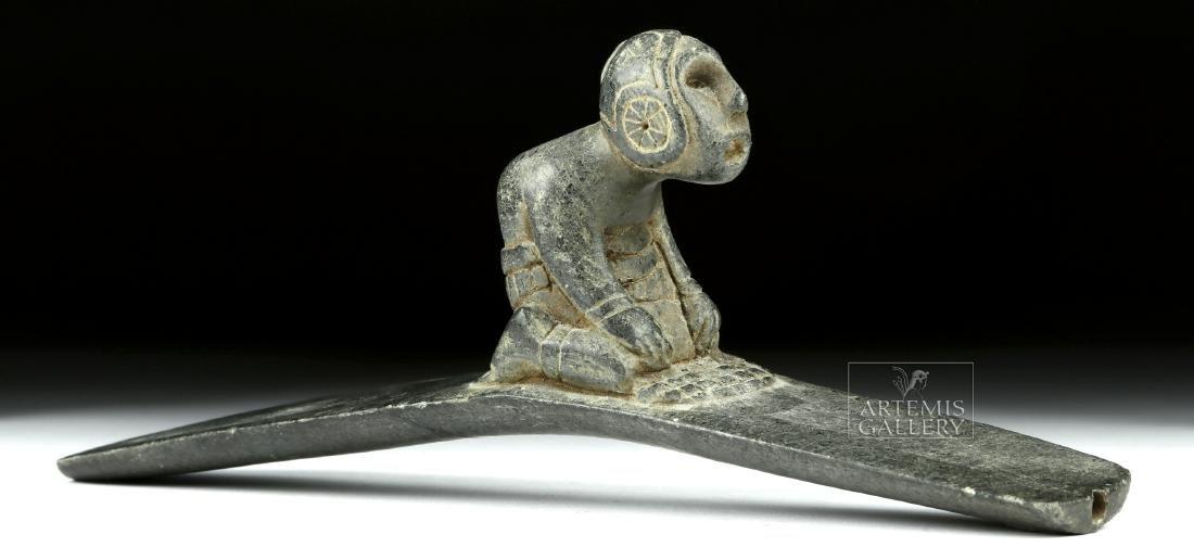 Native American Hopewell Stone Pipe w/ Kneeling Figure - 3